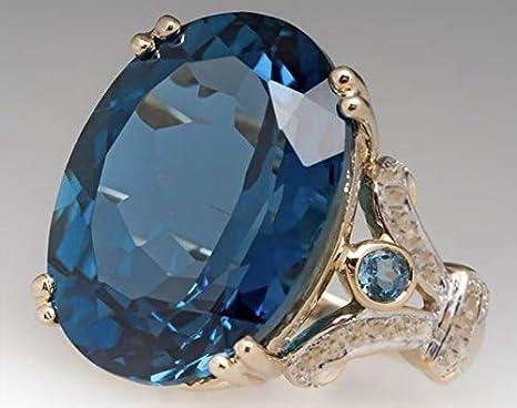 Chic Alloy Aquamarine Gemstone Sapphire Topaz Wedding Party Ring Size 6-10 Gifts