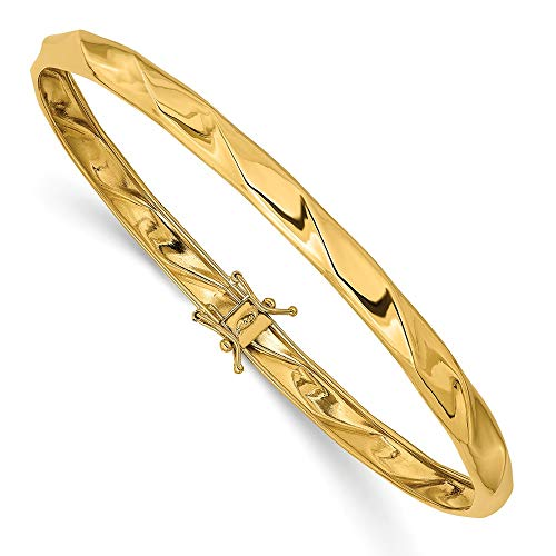 14k Yellow Gold Twisted Bangle - 14k Yellow Gold Twisted Bangle Bracelet Cuff Expandable Stackable Hinged Fine Jewelry Gifts For Women For Her