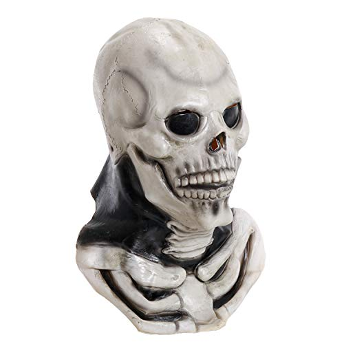 Halloween Haunters Latex Skull Mask with Skeleton Bone Chest - Adult Size Full Face, Neck Spine and Collarbones - Wear with Skeleton Body Costume - Scary Death Horror Haunted House Cosplay Party Prop ()