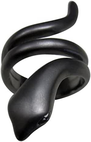 One of A Kind Wrap Around Snake Fashion Ring in Matte Black Rhodium Finish