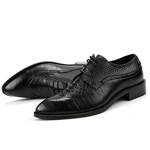 Atan Oxfords Hombres del Zapatos talón talón Zapatos de 2018 la shoes Ocasionales Suave del pie del PU Dedo los los Plano Hombre del del de Cuero del para Negocio Negro Fang Arriba g0Iqa
