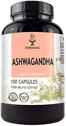 Ashwagandha Capsules 1500 mg   Filled with Organic Ashwagandha Root   Anxiety and Stress Relief   Thyroid Support   Sleep Aid   Non-GMO