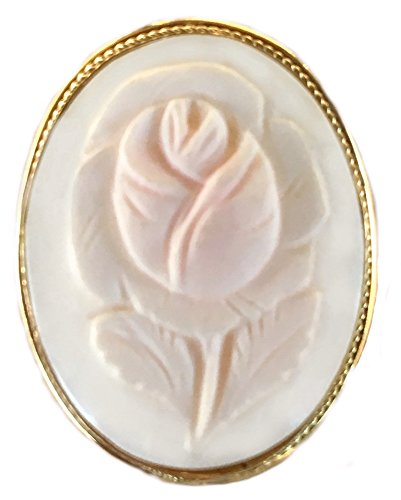 Bezel Brooch Sterling Silver (Brooch, Pendant, Art Deco, Rose, Sterling Silver Framed with 18K Yellow Gold Overlay, Master-Carved, Italian,)