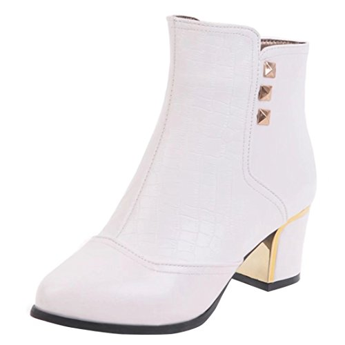 AIYOUMEI Damen Blockabsatz Stiefeletten mit Reißverschluss und Nieten Bequem Modern Kurzschaft Stiefel Weiß