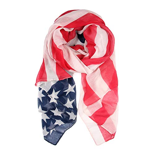 (American Flag Patriotic Print Costume - July 4 USA Stars Stripes Open Kimono Cardigan, Shawl Vest, Wrap Scarf (Scarf/Oblong - Graphic Flag))