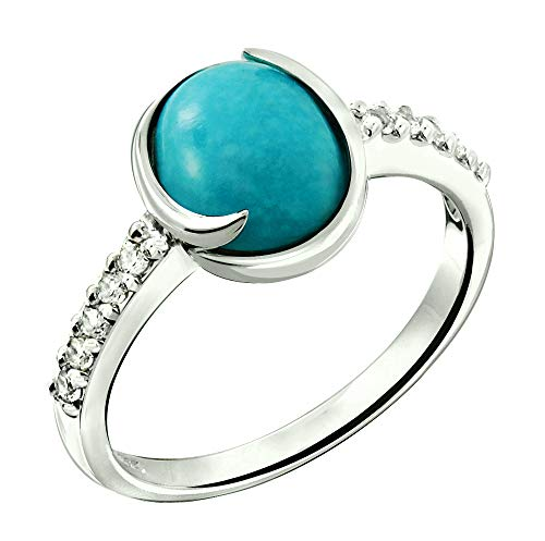 - RB Gems Sterling Silver 925 Ring Genuine Gemstone Oval 9x7 mm, Rhodium-Plated Finish, Solitaire Style (6, turquoise)
