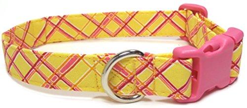 pink-lemonade-collar-with-pink-buckle-handmade-designer-cotton-dog-collar-adjustable-fabric-collars-