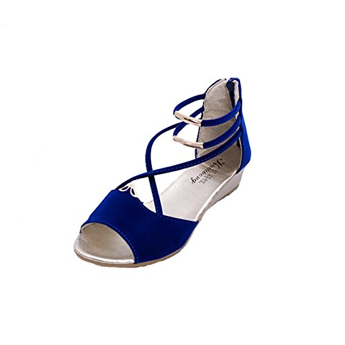 With ANDAY Low Heel Metal Wedges Bandage Shoes Sandals Blue Women's Beach Hp7Hqr8
