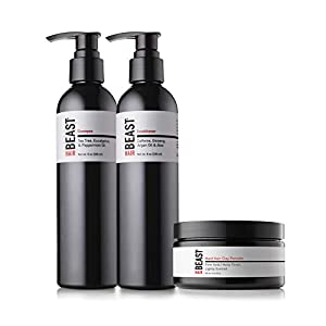 Mens Hair Products Essentials Set – Tingle Shampoo, Caffeine Conditioner, Firm-Hold Matte Finish Hair Styling Clay – Anti-DHT Tea Tree Oil Peppermint Menthol Green Tea Ginseng Hemp – Tame the Beast