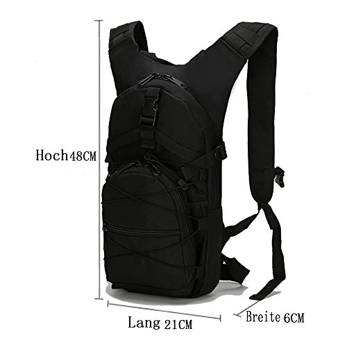 Dreamore 15L Sport Rucksack Im Freien Freizeit Oxford Tarnung Tuch Multifunktions Anti-regen Atmungsaktiv Schwarz