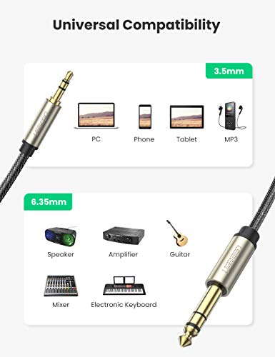 UGREEN 6.35mm Male to 3.5mm Male TRS Stereo Audio Cable with Zinc Alloy Housing and Nylon Braid Compatible for iPod Laptop Home Theater Devices and Amplifiers 6FT