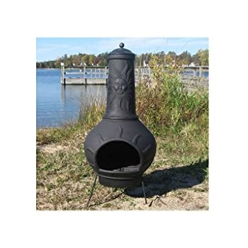 Blue Rooster Sun Ray Style Wood Burning Outdoor Metal Chiminea Fireplace Charcoal Color