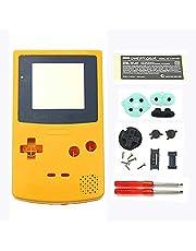 Nytt plastskal hölje fodral skydd för nintend gameboy färg GBC skal med knappar kit klistermärke etikett (gul)