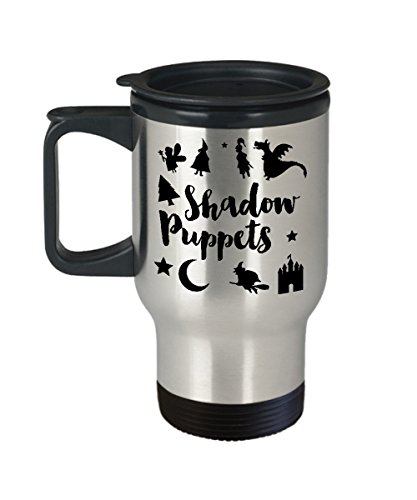Puppeteering Coffee Travel Mug, Best Funny Unique Shadow Puppet Tea Cup Perfect Gift Idea For Men Women - Shadow Puppet fairy tale halloween -