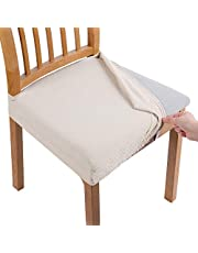 Smiry Stretch Jacquard Chair Seat Covers for Dining Room, Removable Washable Anti-Dust Chair Seat Protector Slipcovers - Set of 4, Beige
