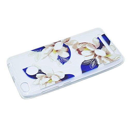 Funda Carcasa Transparente Silicona para Xiaomi Redmi 3S[con Gratis Pantalla Protector],KaseHome Único Patrón de Colores Diseño Cristal Claro Ultra Delgado Suave Durable Caucho Parachoque Alta Resiste Flor rosa azul