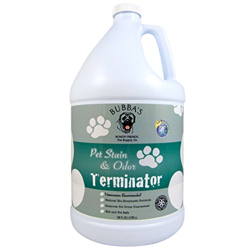 BUBBAS Super Strength Commercial Enzyme Cleaner - Pet Odor Eliminator | Enzymatic Stain Remover | Remove Dog Cat Urine Smell from Carpet, Rug or Hardwood Floor and Other Surfaces (Gallon) (Best Dog Urine Stain And Odor Remover)