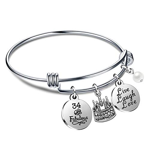 lauhonmin Birthday Gifts for Her Bangle Bracelets Live Laugh Love for 13th 18th 21st 30th 40th 50th 60th (34th Birthday)