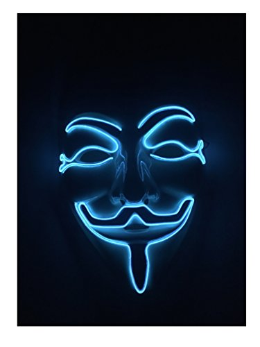 [Blue Stylish El wire N Light up Mask for Birthday Party Any Parties Christmas Gifts] (Light Up Costumes For Adults)