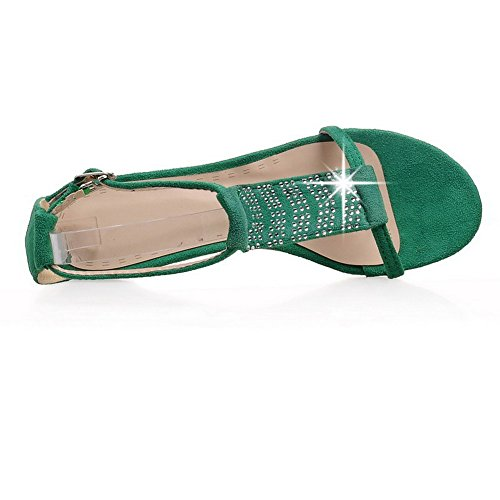 AllhqFashion Mujeres Puntera Abierta Hebilla Sandalia Plano con Diamante Verde