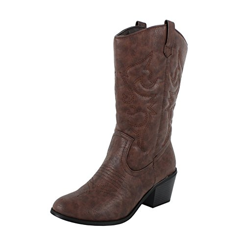 West Blvd Miami Cowboy Western Boots, Brown Pu, 5.5 - Brown Cowboy Western Boots