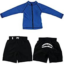 SwimZip® Baby Boy Zipper Long Sleeve Rash Guard Swimsuit Set Shark Bite Blue
