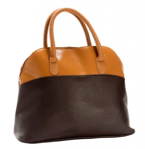 - M&c Women's HB1040_04_TAN/BWN Tan and Brown Faux Leather Medium Size Top Handle Chic Fashion Handbag
