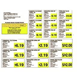 Yellow Shelf Paper Labels,3 1/2W x 1 1/4H