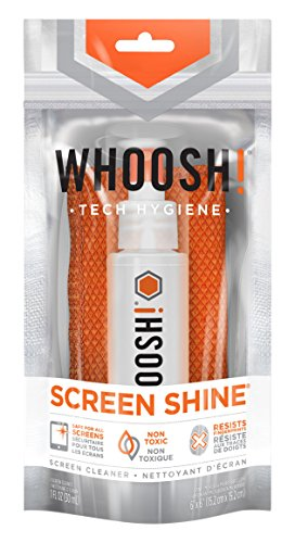 WHOOSH! Award-Wining Screen Cleaner – Safe for all screens – Smartphones, iPads, Eyeglasses, Kindle, LED, LCD & TVs – Includes 1 Oz bottle + 1 Premium Antimicrobial Microfiber cloth