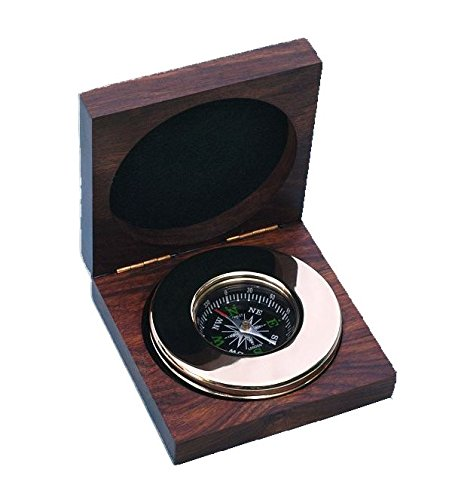 Engraved Large Brass Paperweight Compass with Hardwood Box