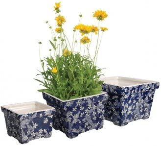 Blumentopf /Übertopf Topf Keramik eckig//blau wei/ßes Blumendekor 3erSet