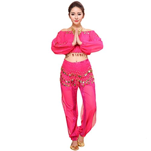 Ec Women Belly Dance Costume Indian Dancing Sequins O Neck Dress Clothes Top Pant (Hot Pink)