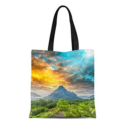 Tinmun Canvas Tote Bag Reusable Sunset Over Green Jungle on Rotui Mountain Cook Bay Shoulder Grocery Shoulder Bag Handbag Printed
