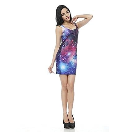 Pracien - Autumn Women Tank Dress Galaxy Print Sexy Sleeveless Bandage Dress Vest Mini Short Bodycon