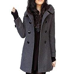 Winter Fur Collar Woolen Coat Wool Windbreaker Women Cashmere Coat Winter Jacket Women Female Plus Gray Xxxl