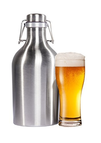 2l / 1 Beer (Beer Growler 64 oz - 2L Stainless Steel Growler with Secure Swing Top Lid for Freshness - Best for Craft Beer and IPAs - Food Safe - Plastic Free All Metal)