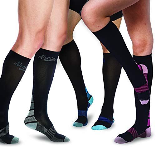 (AIvada Compression Socks for Men & Women with Foot Massager Pad, Perfect for Diabetes Arthritis & Plantar Fasciitis, Comfortable Fit for Sports, Boost Stamina, Circulation & Recovery Black Pink SM)