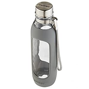 Contigo Purity Glass Water Bottle, 20-Ounce, Smoke