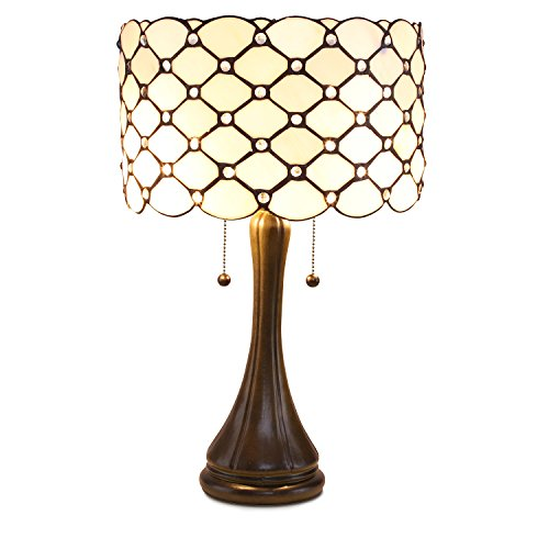Serena D'italia Tiffany Style Table Lamps Contemporary - Diamond Pattern Stained Glass Lamp with Jewels - Standing Lamp with Double Pull Chain (White)