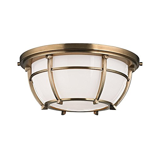 Conrad 2-Light Flush Mount - Aged Brass Finish with Opal Glossy Glass Shade