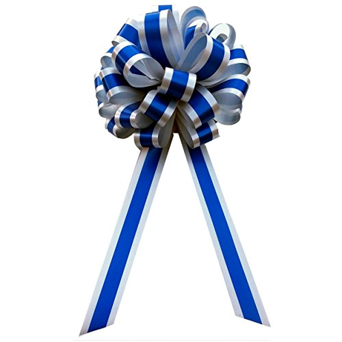 Royal Blue & Silver Striped Wedding Pull Bows with Tails for Church Pews and Chairs - 8