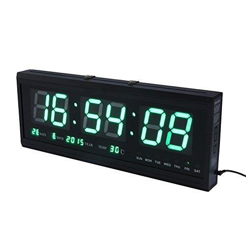 Yosoo 12/24 Hours Digital LED Home Desk Calendar Temperature Date Wall Clock (Green)