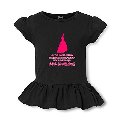 - Ada Lovelace - The World's First Computer Programmer Wore A Dress Short Sleeve Toddler Cotton Girly T-Shirt Tee - Black, Small