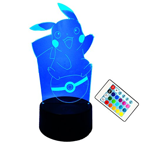 Price comparison product image Amroe 2018 Baby Children Pokemon Pikachu 3D Nightlight Toys Remote LED Lights 7 Color Gradient Change Acrylic Board USB Charging NightliCute Child Gift Birthday Christmas Toys Bedroom Decoration
