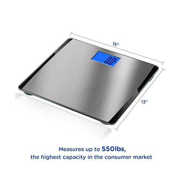 Digital Bathroom Scale 550 Pound Extra-High Capacity Lcd Display Body Weight New