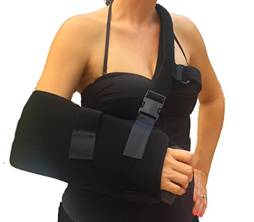 Alpha Medical Shoulder & Arm Sling Immobilizer w/ Abduction Pillow and New Comfortable Hand Grip (Small)