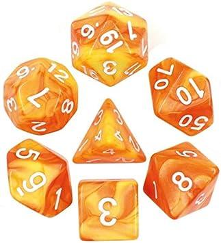 Juego de Dados de Alta definición de poliedros D&D para Mazmorras y Dragones RPG Juegos de rol MTG Pathfinder, Juego de 7 Dados (Amarillo limón + Naranja) Mezcla de Colores: Amazon.es: Juguetes