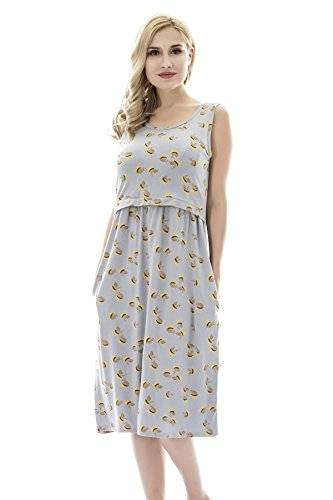 Bearsland Womens Sleeveless Maternity Dress Empire Waist Nursing Breastfeeding Dress Summer, graycockscomb, L