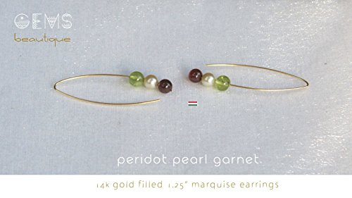 GemsBeautique Modern Arc Marquise Hungarian Earings. Flag of Hungary. 14k Gold Filled or 925 Sterling Silver. Peridot, genuine pearl & garnet. Elegant & Unique FRIENDSHIP Christmas - Christmas Hungary Gifts