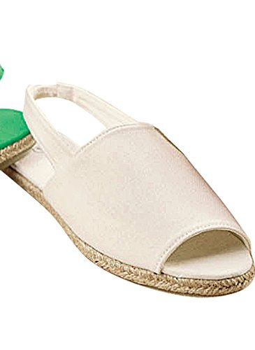 Carol Wright Gifts Open Toe Canvas Slingback Shoe White Q8XPz2Qg6